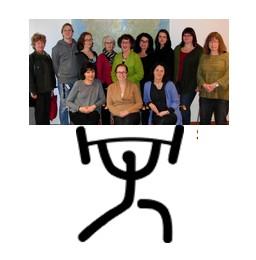 Bild på tecknad tyngdlyftare som lyfter skolbibliotekarier i vår region